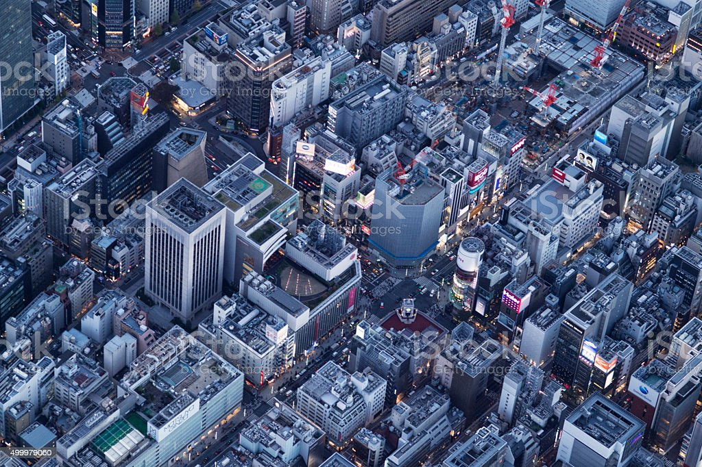 Cityscape high-rise building as seen from the sky lined stock photo