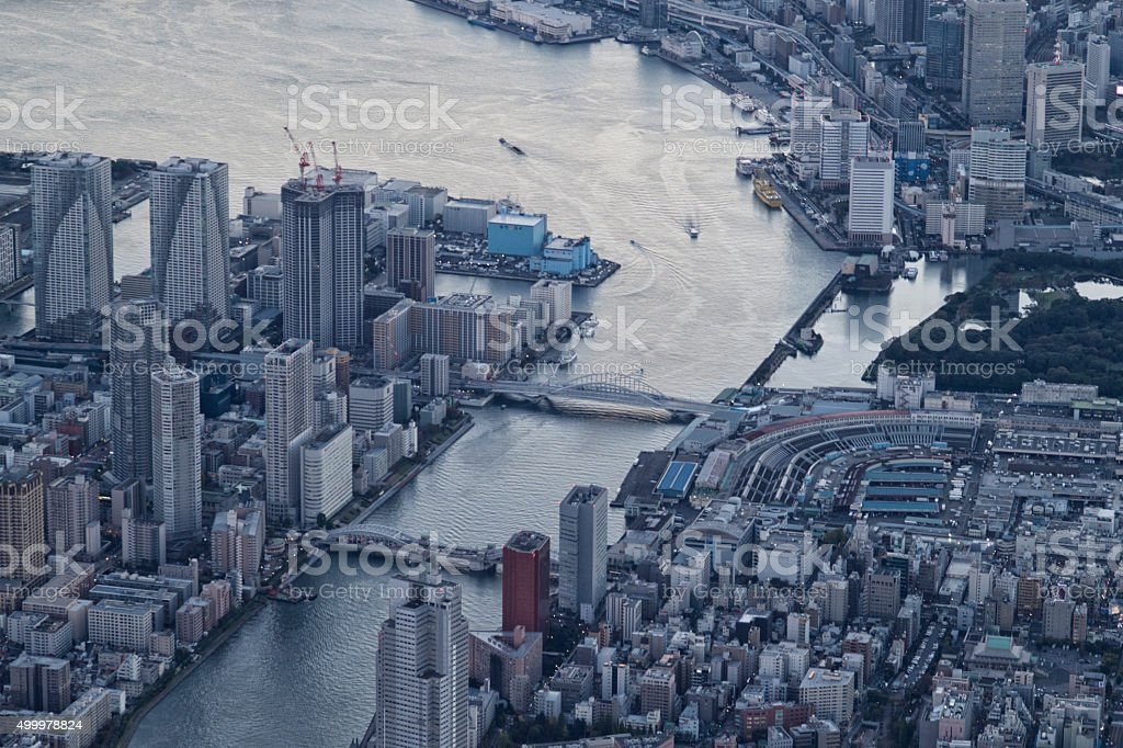 Cityscape high-rise buildings and bridges are built stock photo