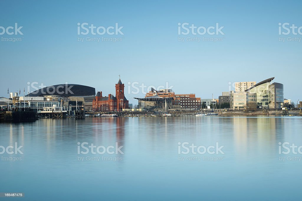 Cityscape image of Cardiff Bay in Wales, United Kingdom stock photo