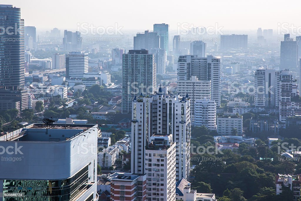 Cityscape in a foggy morning stock photo
