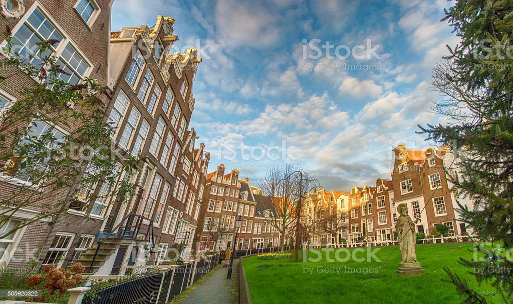 Cityscape in Begijnhof, Amsterdam stock photo
