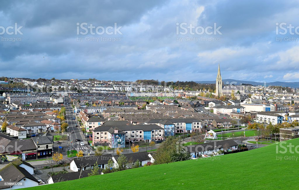 Cityscape in Derry, Northern Ireland. stock photo