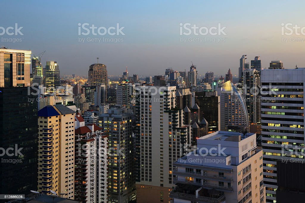 Cityscape in gloaming time. stock photo
