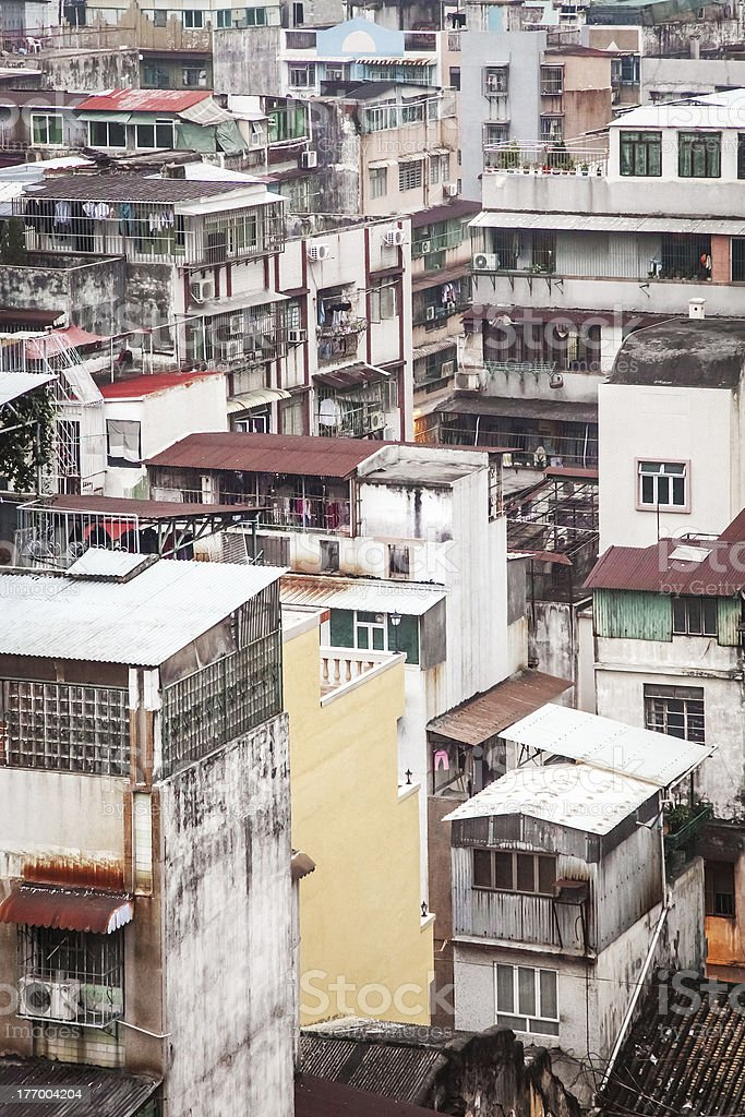Paisaje urbano de la ciudad antigua, Macao foto de stock libre de derechos