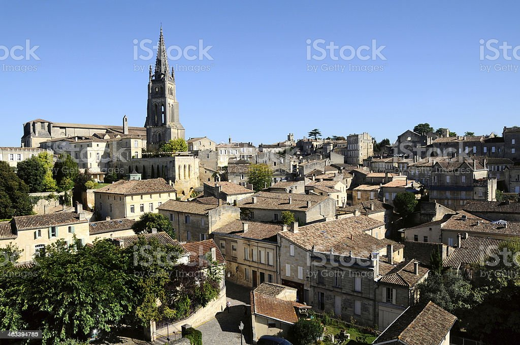 Cityscape in Saint Emilion featuring a church stock photo