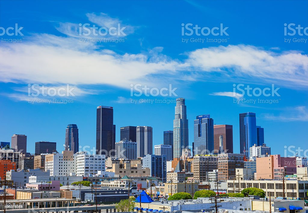 Cityscape includes skyscrapers of Los Angeles skyline, CA stock photo