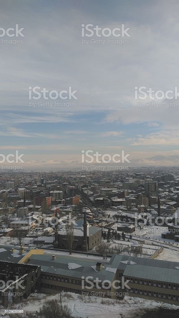 Cityscape, Kars, Turkey stock photo