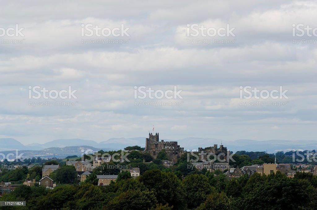 Cityscape, Lancaster castle in Lancashire, united kingdom stock photo