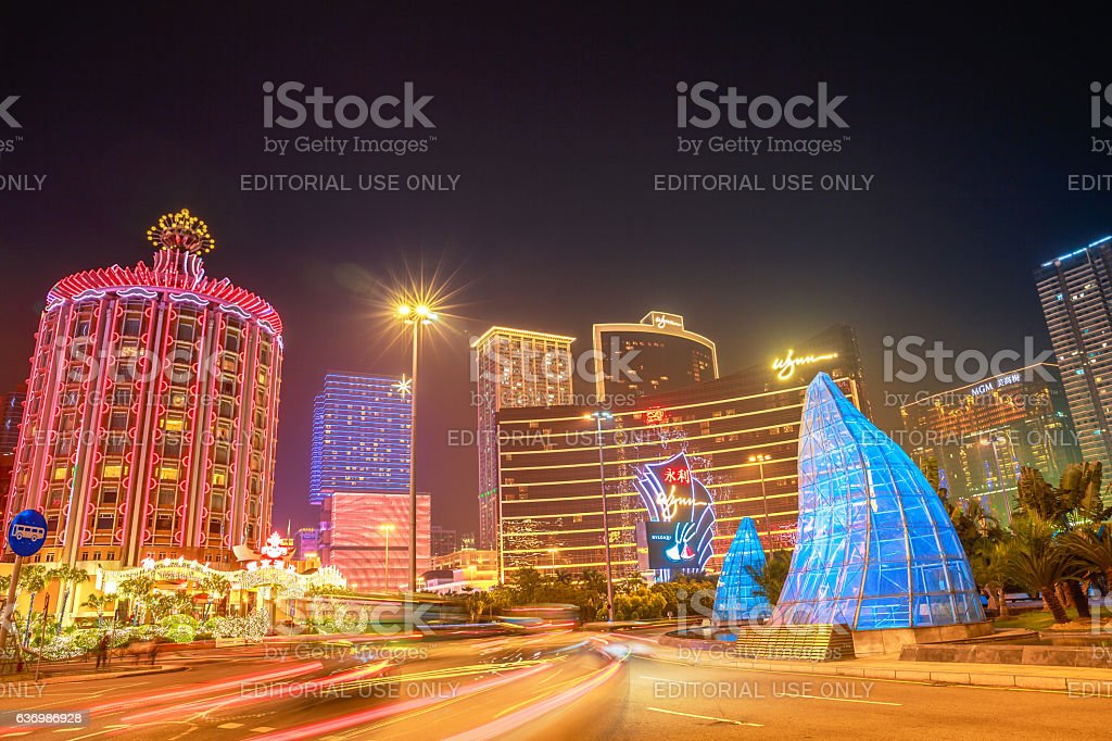 Cityscape Macao at night stock photo