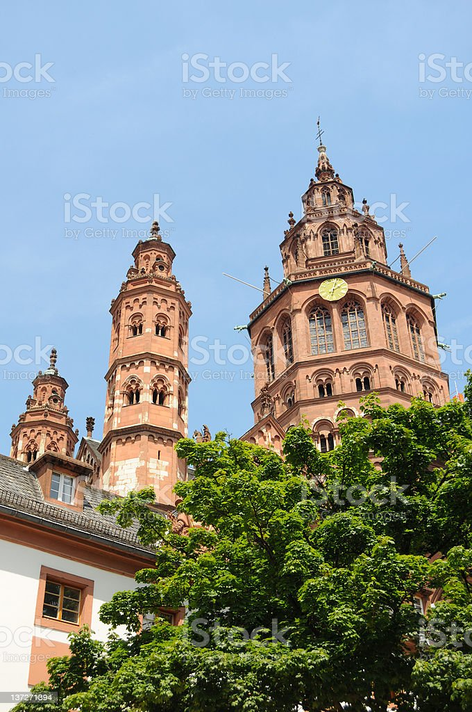 Cityscape Mainz St. Martin's Cathedral (Germany)- Mainzer Dom und Altstadt stock photo