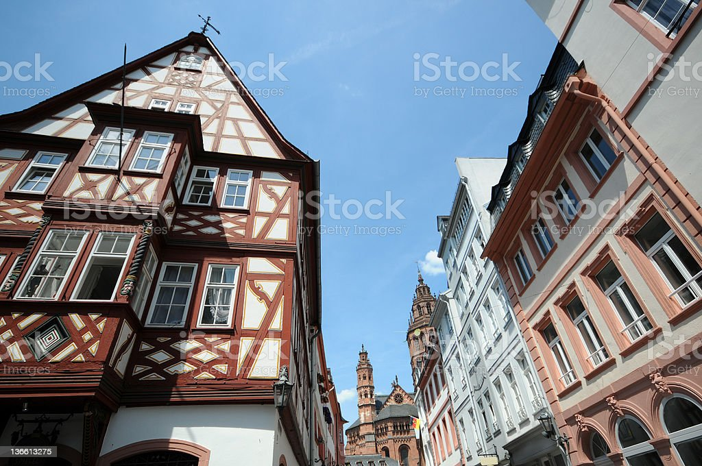 Cityscape Mainz with halftimbered house and Cathedral - Altstadt stock photo
