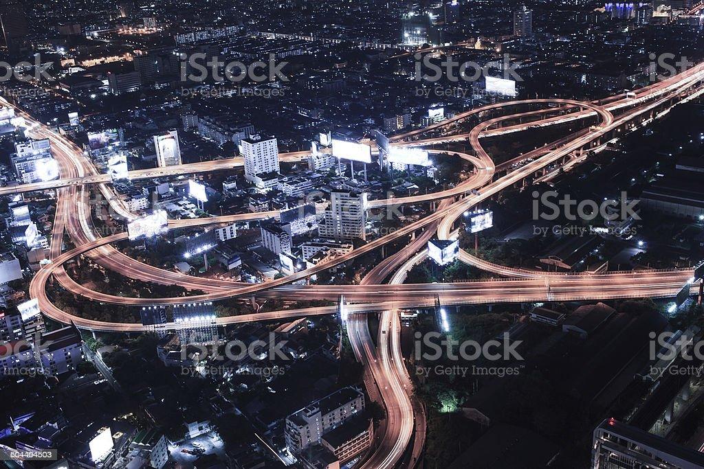 Cityscape night and traffic car lighting, Bangkok bird eye view royalty-free stock photo