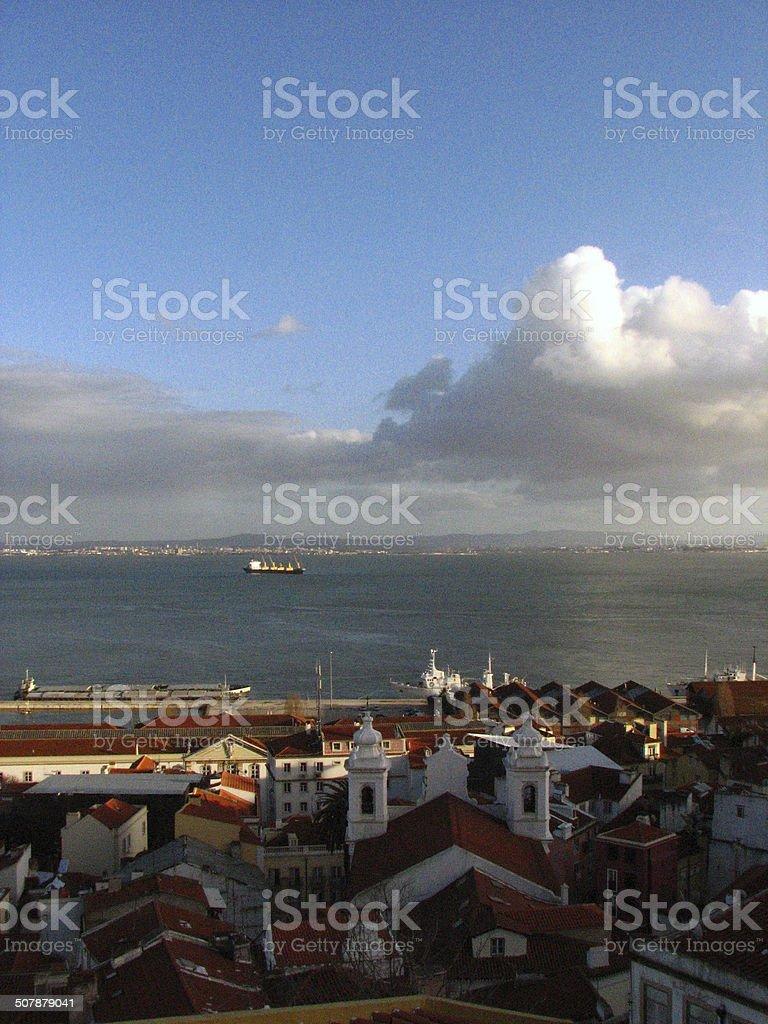 Cityscape, ocean & trees royalty-free stock photo