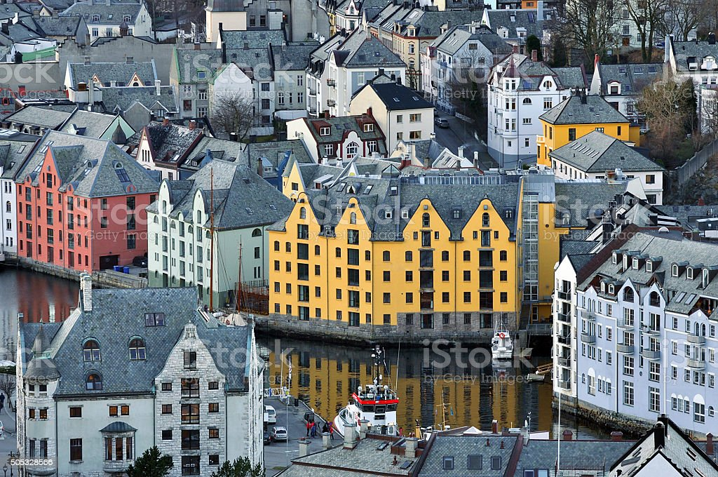 Cityscape of Alesund Norway in the morning - architecture background stock photo