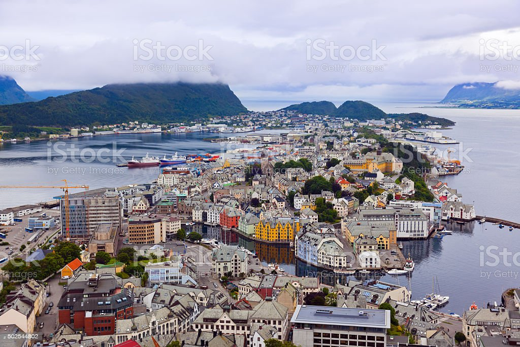 Cityscape of Alesund Norway stock photo