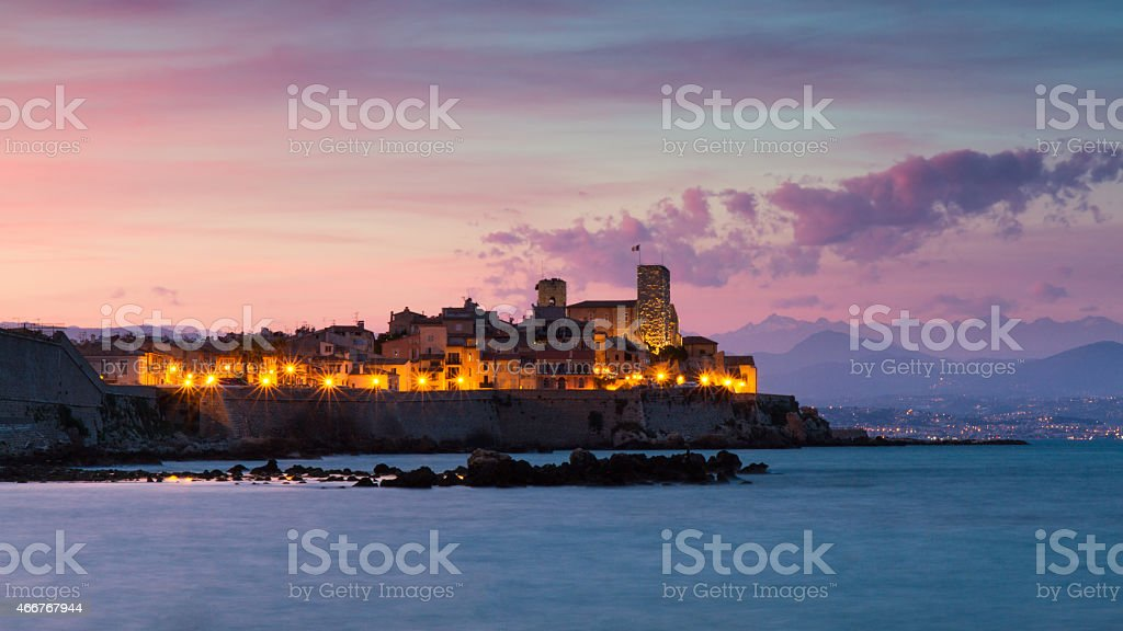 Cityscape of Antibes at sunset stock photo