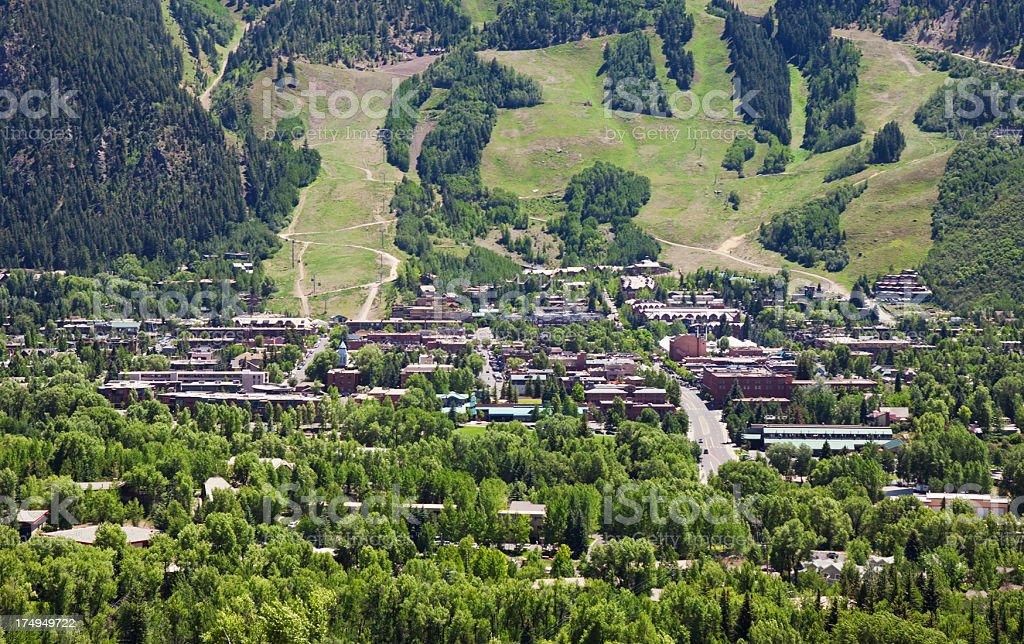Cityscape of Aspen, Colorado royalty-free stock photo