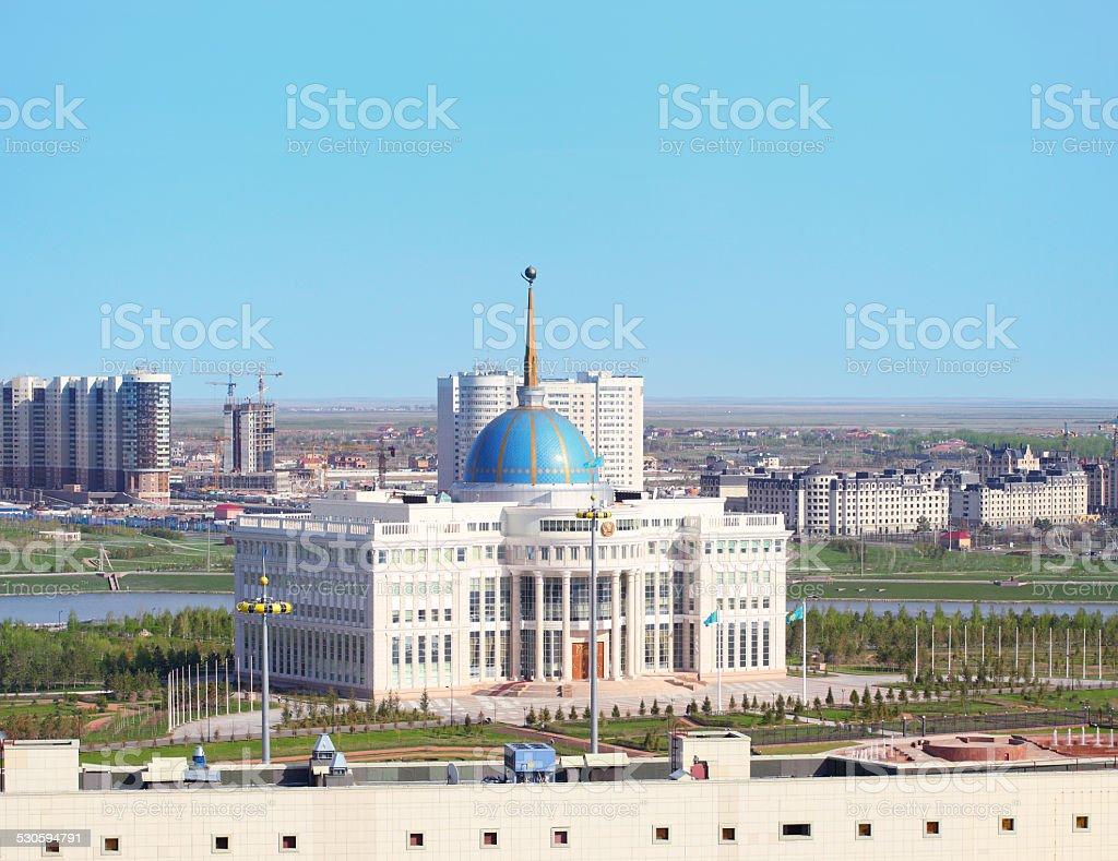 Cityscape of Astana with AK Orda stock photo