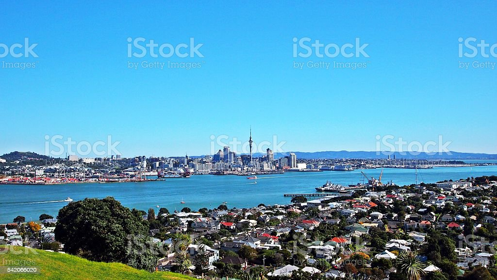 Cityscape of Auckland stock photo