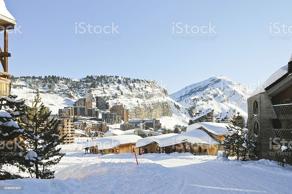 cityscape of Avoriaz town in Alp, France stock photo
