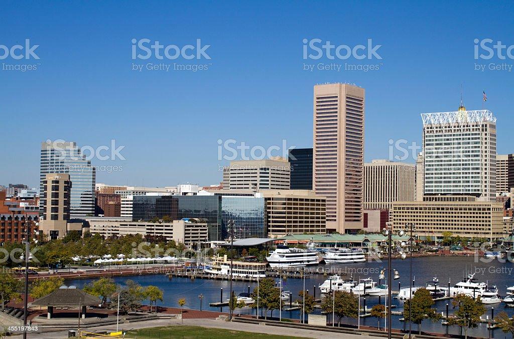 Cityscape of Baltimore Inner Harbor stock photo