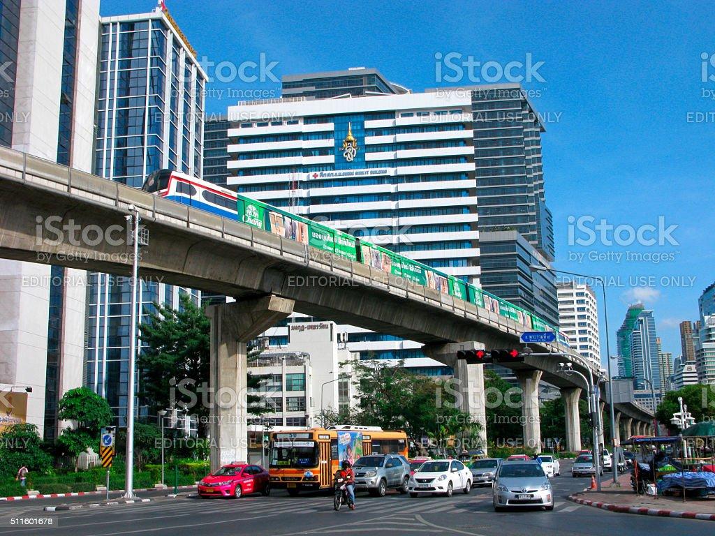 Cityscape of Bangkok. Skytrain. stock photo
