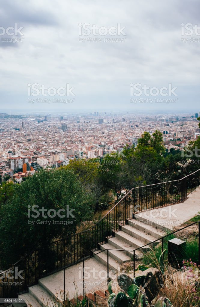 Cityscape of Barcelona - Bunkers del Carmel stock photo