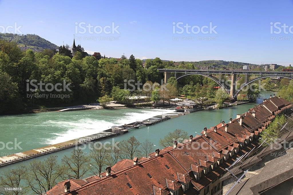 Cityscape of Bern and Aare river(Switzerland) royalty-free stock photo