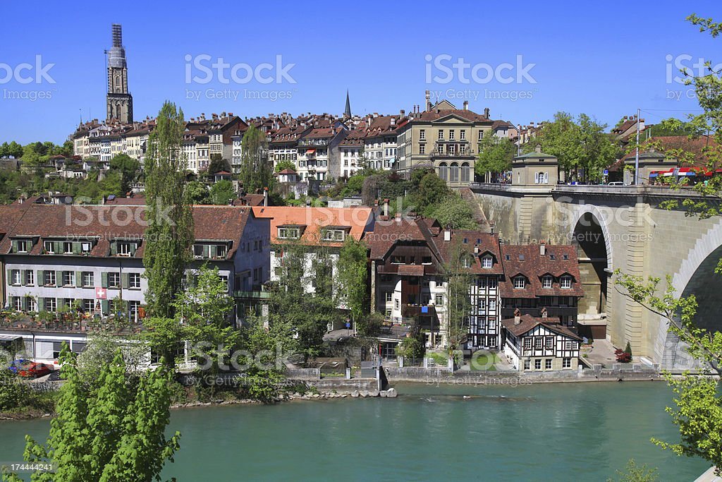 Cityscape of Bern and Aare River, Switzerland royalty-free stock photo