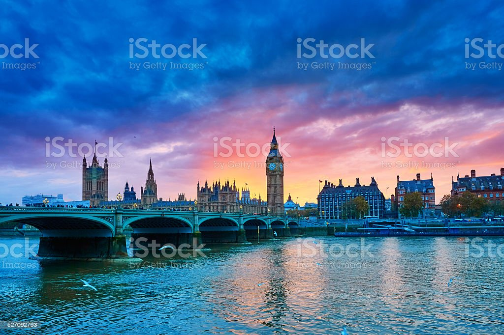 Cityscape of Big Ben and Westminster Bridge stock photo