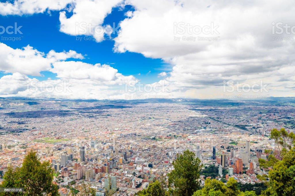 Cityscape of Bogota from Monserrate in Colombia stock photo