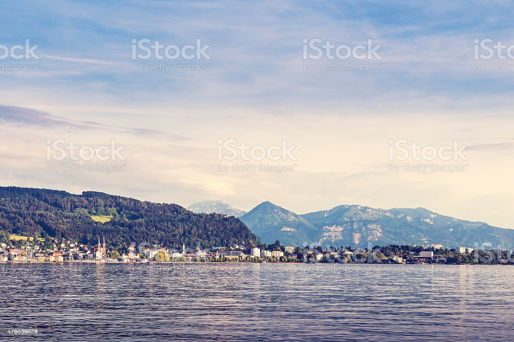 Cityscape of Bregenz and Constance Lake - Bodensee vinatge effect. stock photo