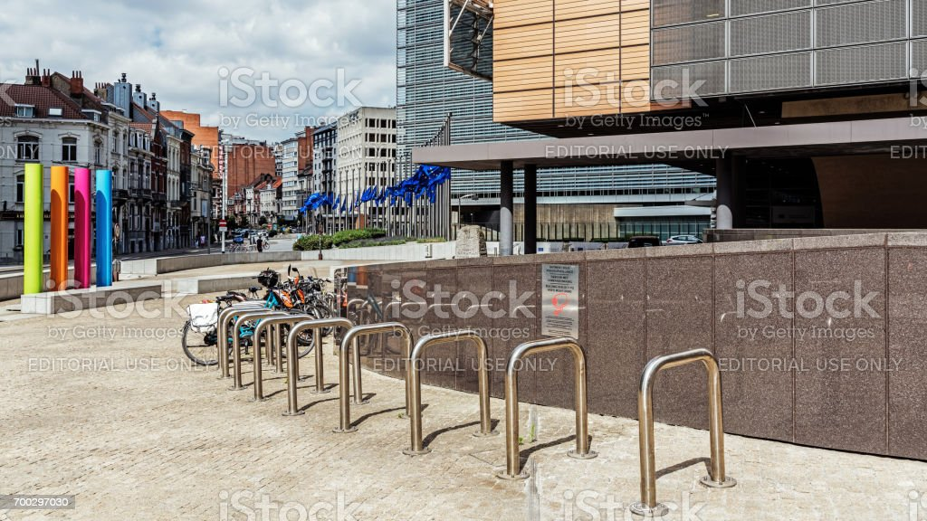 Cityscape of Brussels stock photo
