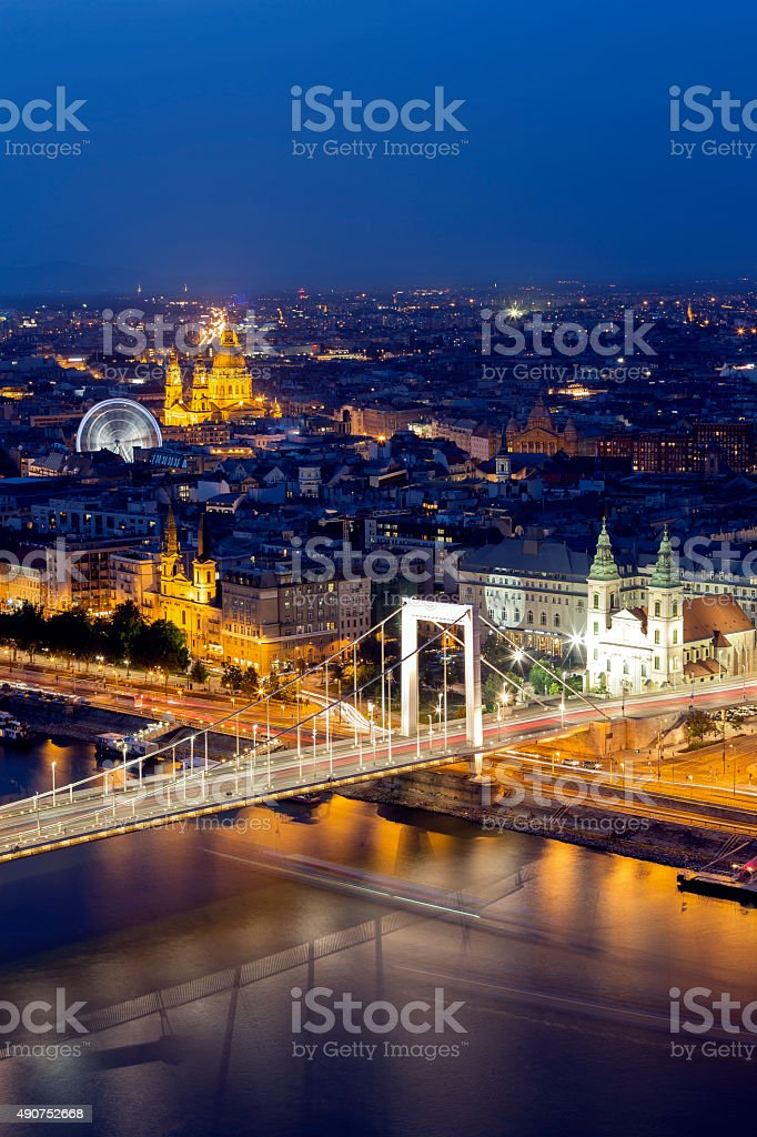 Cityscape of Budapest at dusk Elizabeth Bridge, St Stephen's Basilica stock photo