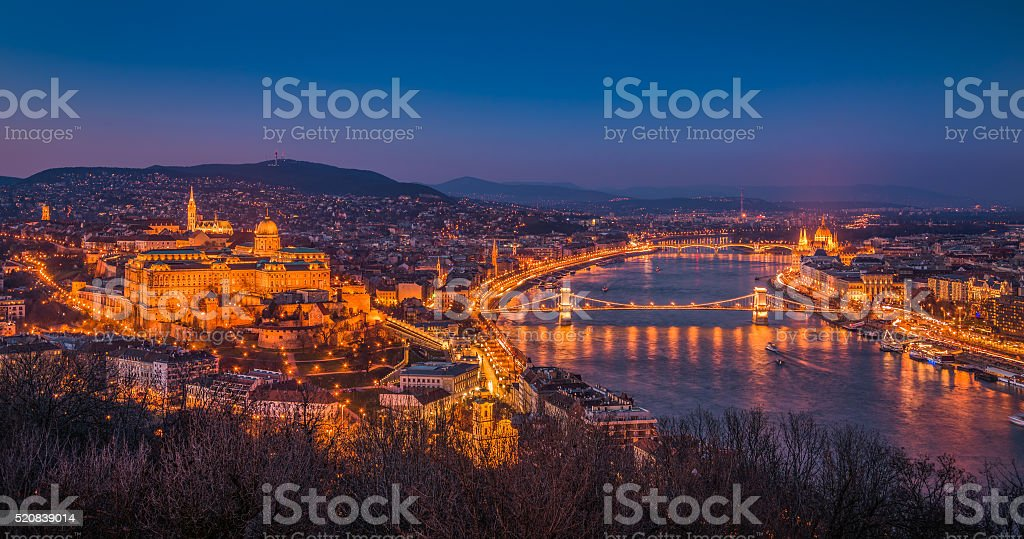 Cityscape of Budapest, Hungary at Night stock photo
