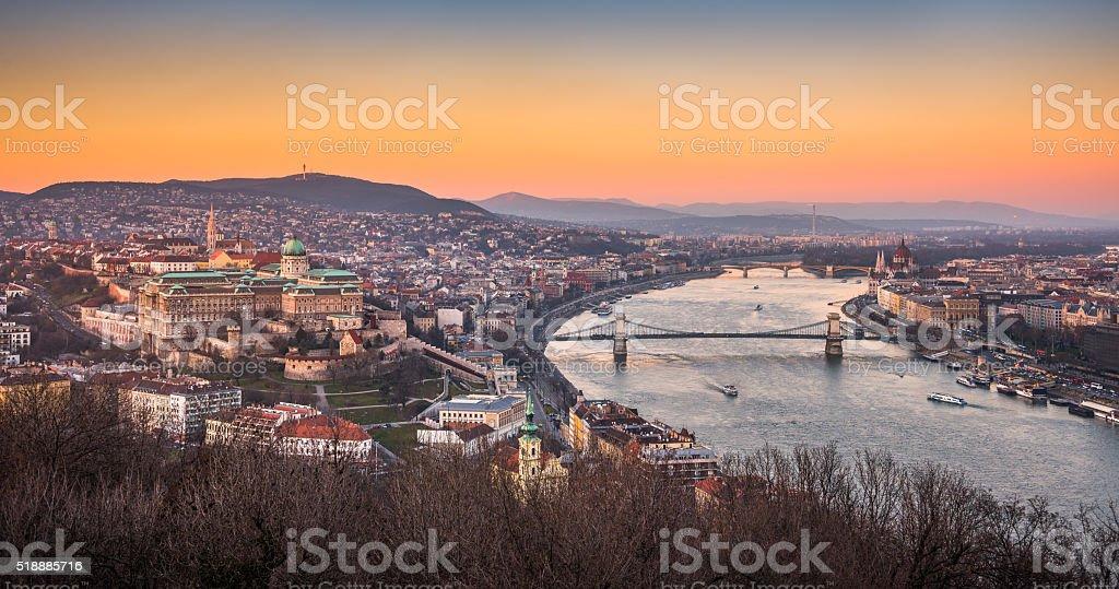 Cityscape of Budapest, Hungary at Sunset stock photo