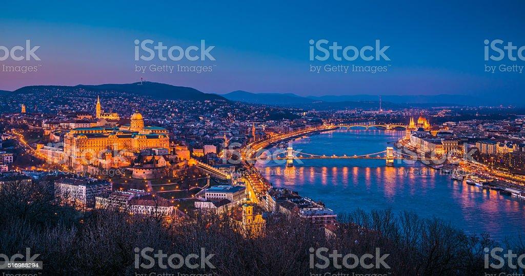 Cityscape of Budapest, Hungary at Twilight stock photo
