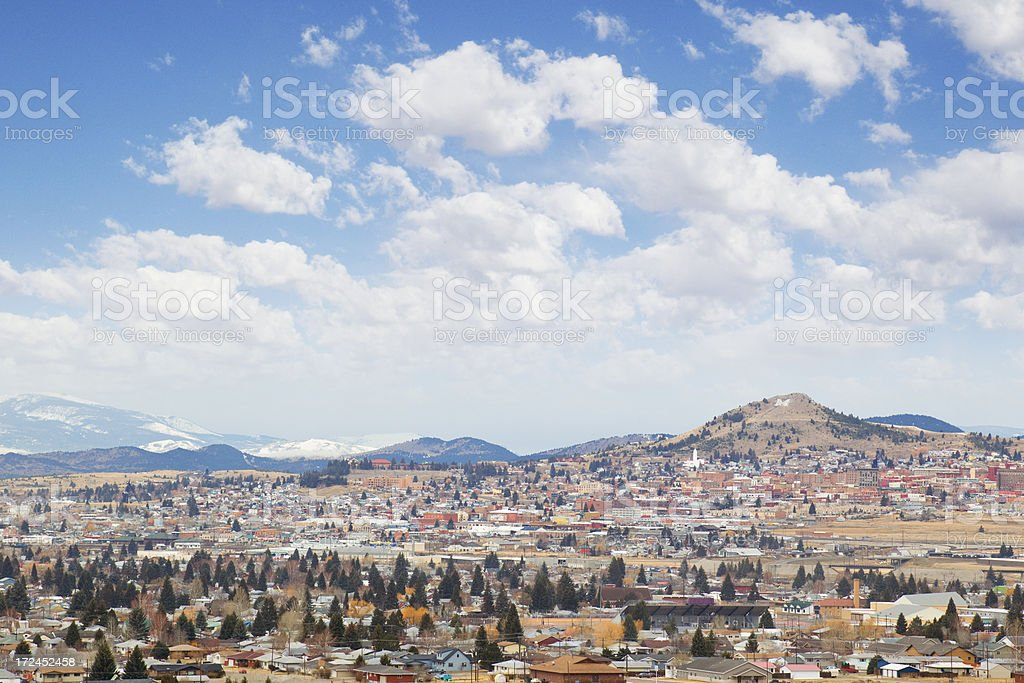Cityscape of Butte, Montana stock photo