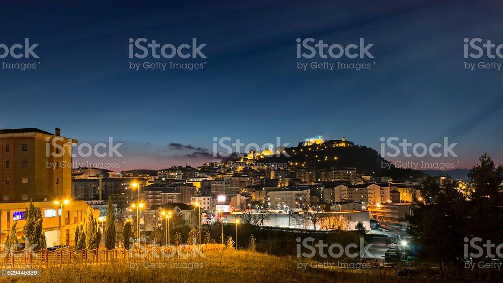 cityscape of Campobasso in night stock photo