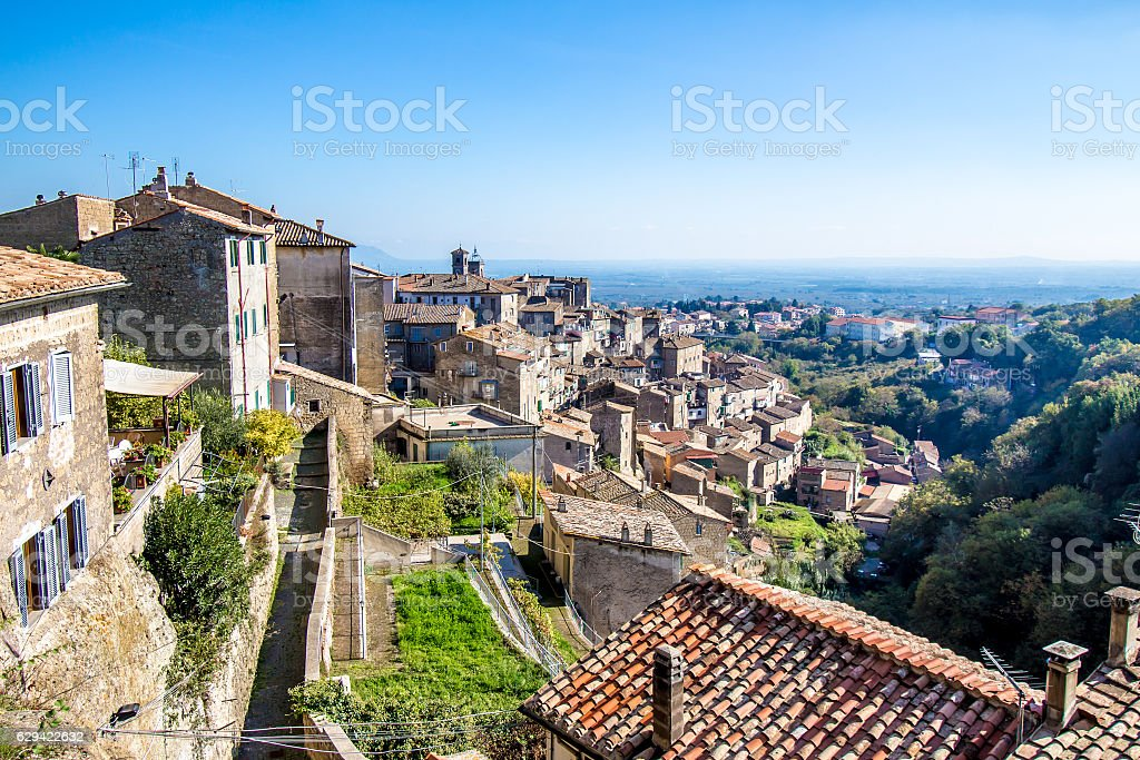 Cityscape of Caprarola, a town in the central Italy. stock photo