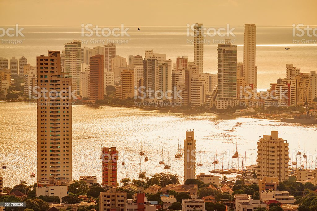 Cityscape of Cartagena Colombia stock photo