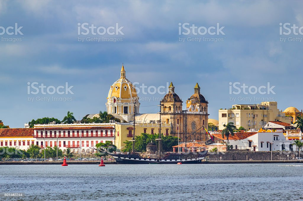 Cityscape of Cartagena Colombia with Church of Saint Peter Claver stock photo