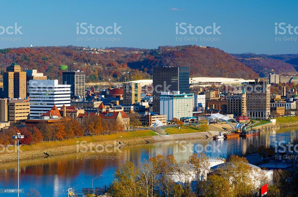Cityscape of Charleston, West Virginia in autumn stock photo