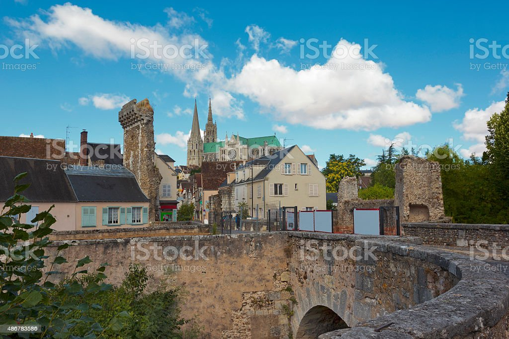 Cityscape of Chartres, France stock photo