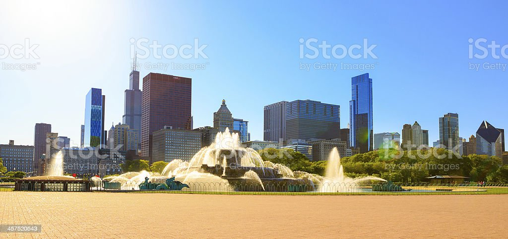 Cityscape of Chicago and Buckingham Fountain royalty-free stock photo