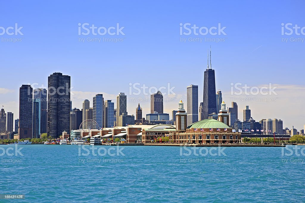 Cityscape of Chicago and Navy Pier Park stock photo