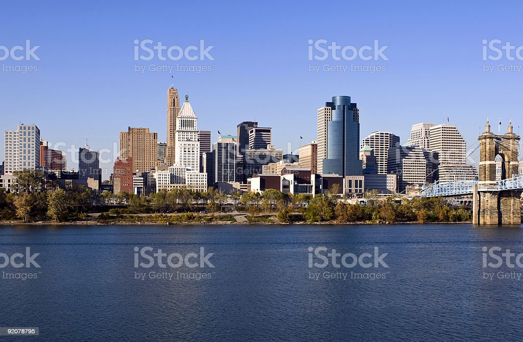 Cityscape of Cincinnati featuring the water and buildings stock photo
