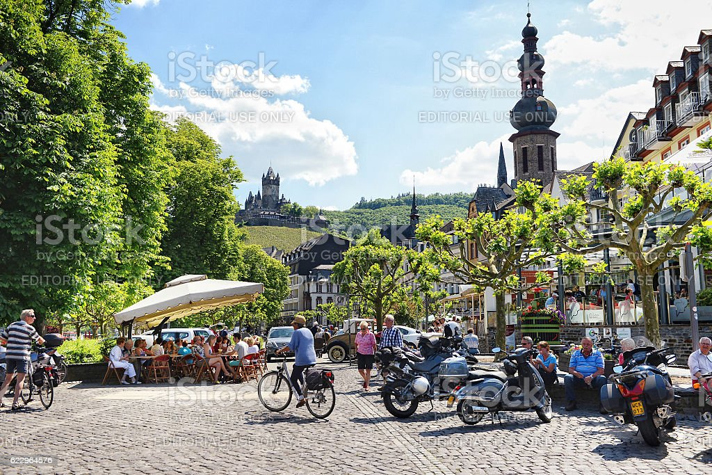Cityscape of Cochem at Moselle river in summer. stock photo