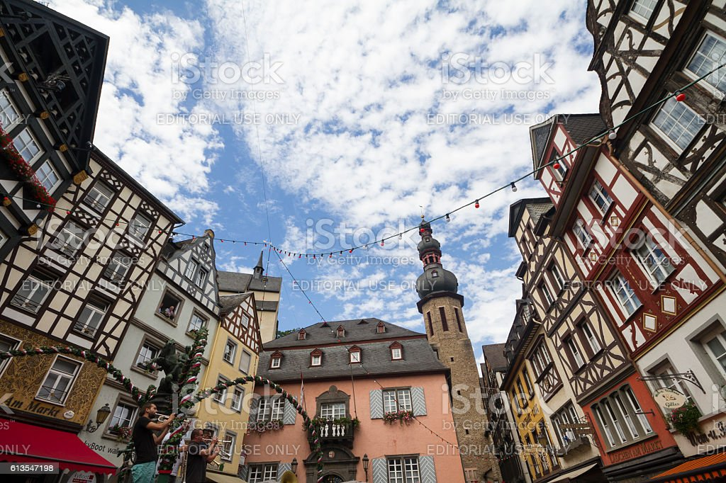 Cityscape of Cochem with its typical half-timbered houses and restaurants. stock photo