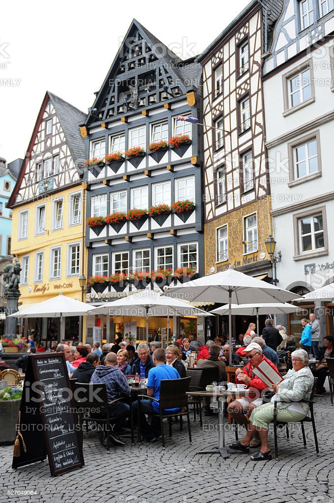 Cityscape of Cochem with its typical half-timbered houses stock photo